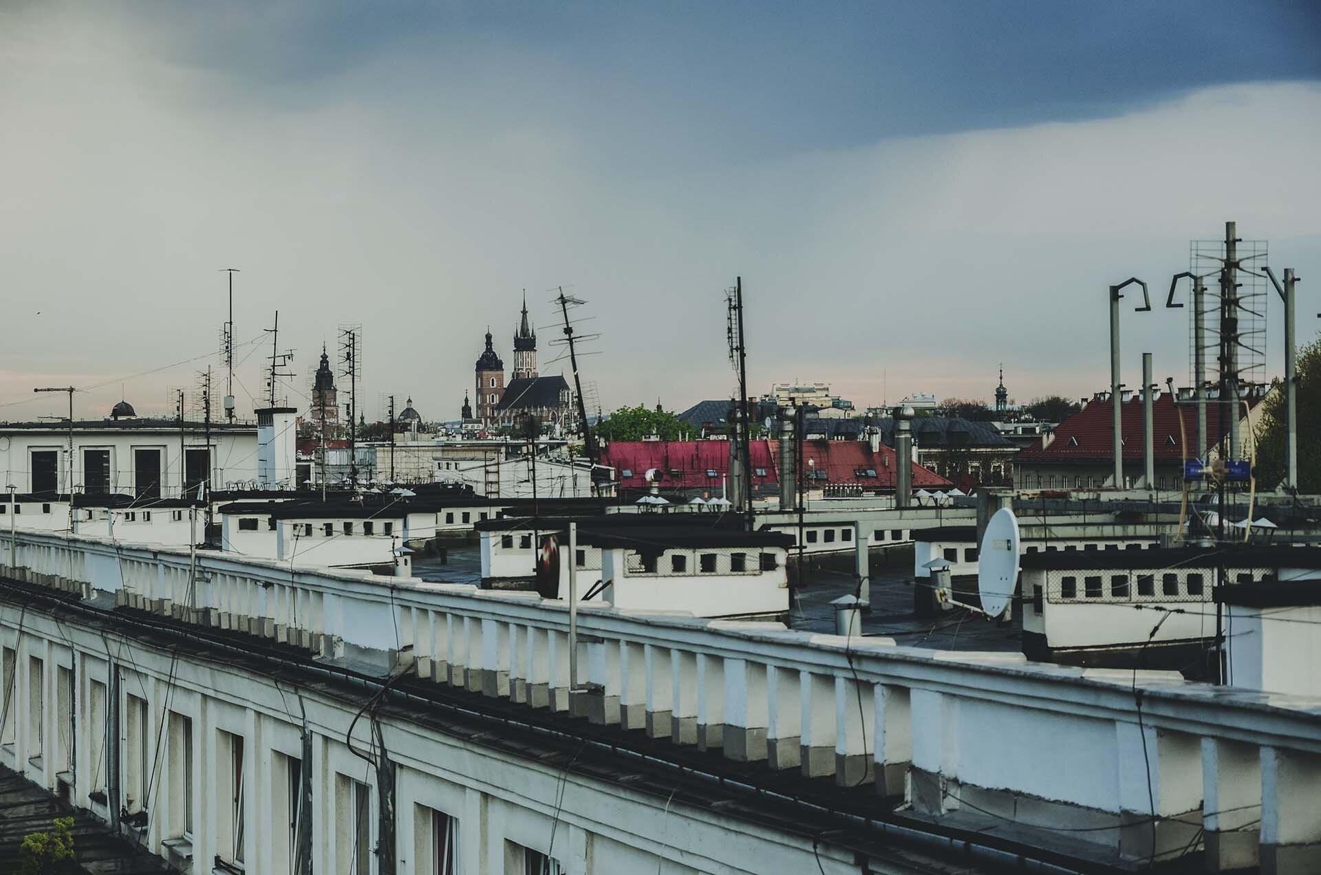 GMALE by Grzegorz Paliś, blog o modzie męskiej, Ramoneska, Dach w Krakowie, Widok z dachu Kraków