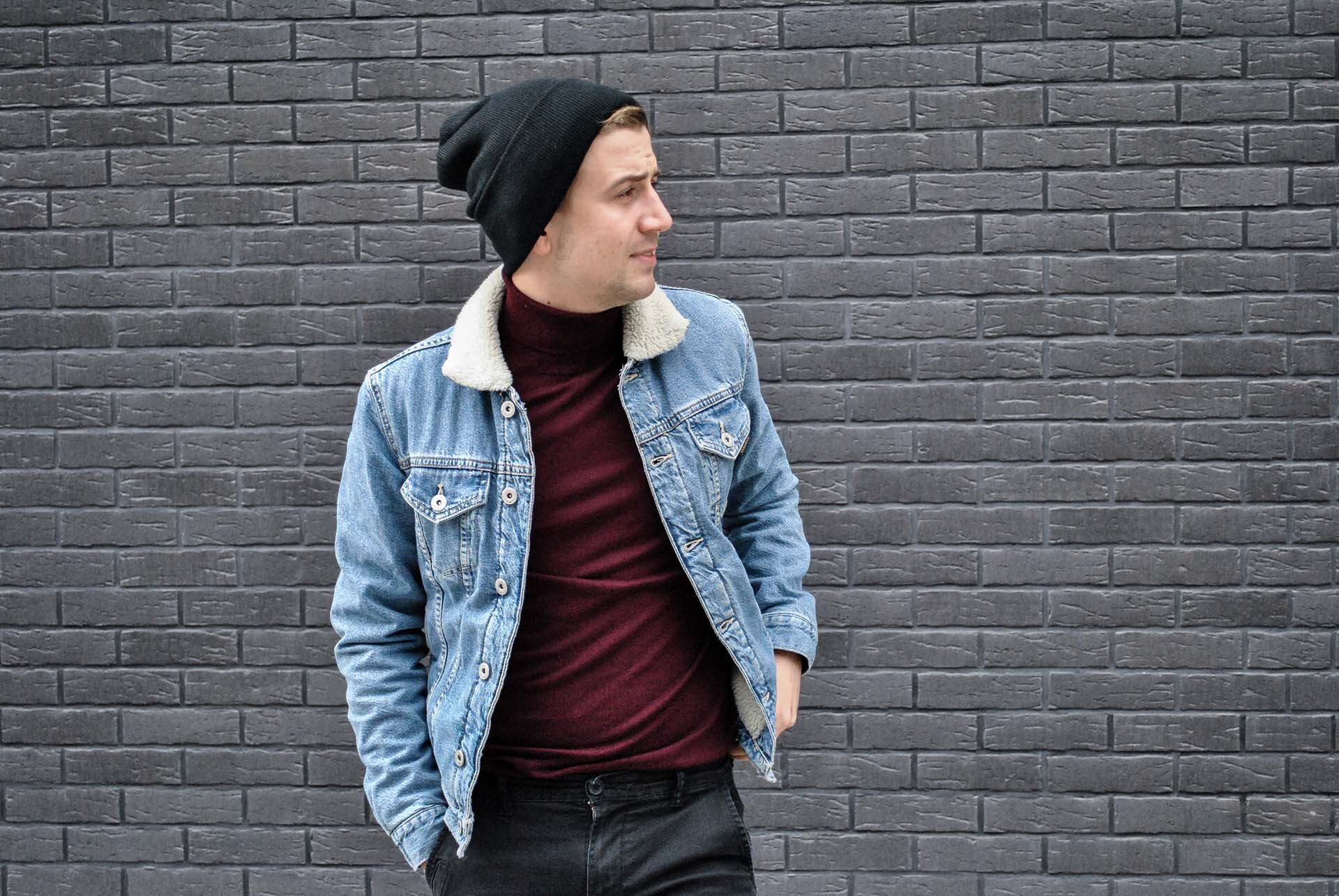 GMALE by Grzegorz Paliś, blog o modzie męskiej, Kurtka dżinsowa z kożuchem, Kurtka jeansowa, Bordowy golf, Casual