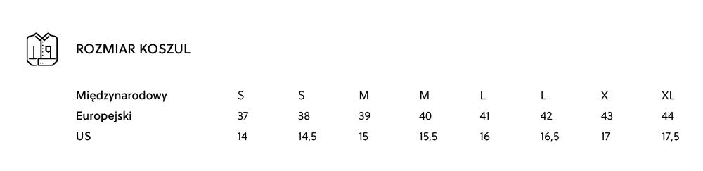 Tabela rozmiarów - rozmiary męskie koszul - rozmiar kołnierzyka