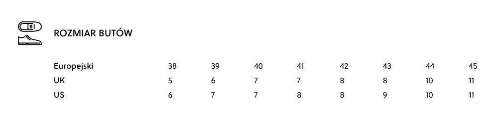 Tabela rozmiarów - rozmiary męskie butów