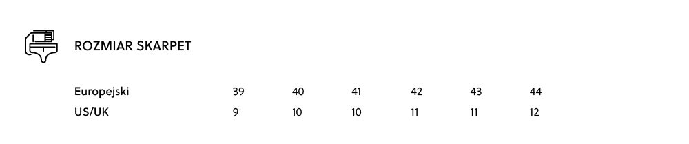 Tabela rozmiarów - rozmiary męskie skarpet