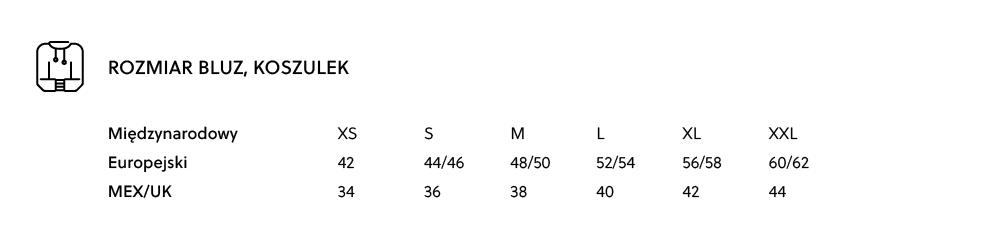 Tabela rozmiarów - rozmiary męskie bluz i koszulek