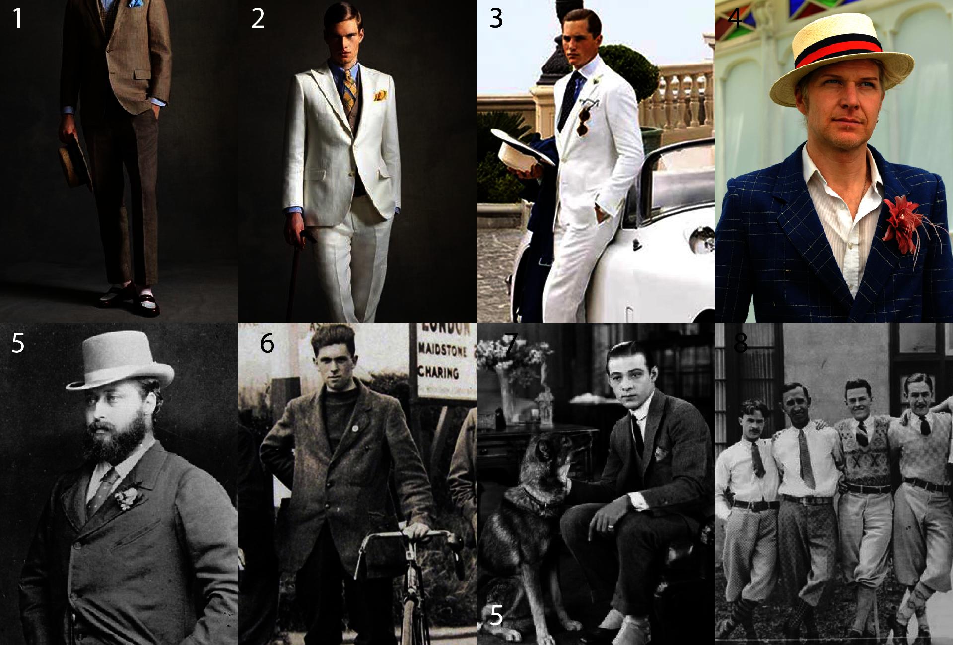 Moda męska lata 20. - Oxford Bags - Rudolf Valentino - Książę Walii Edward VII - Jak ubierano się w latach 20's - Strój męski lata 20's