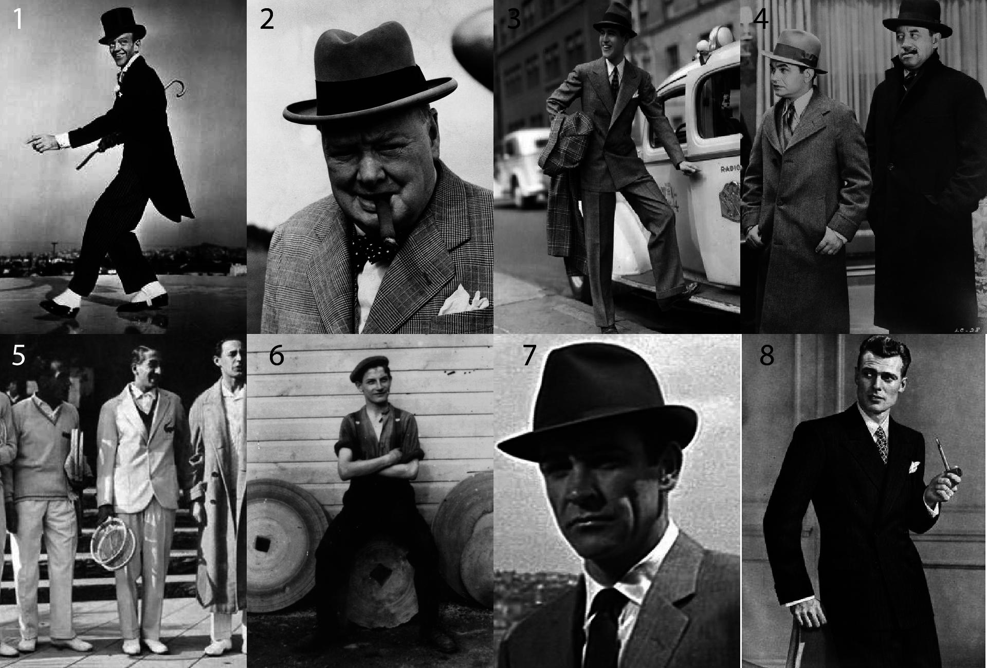 Moda męska lata 30.- Jak ubierano się w latach 30's - Strój męski lata 30's - Fred Astair - Rene Lacoste - Styl gangsterski Al Capone - Kapelusz Trilby lata 30.