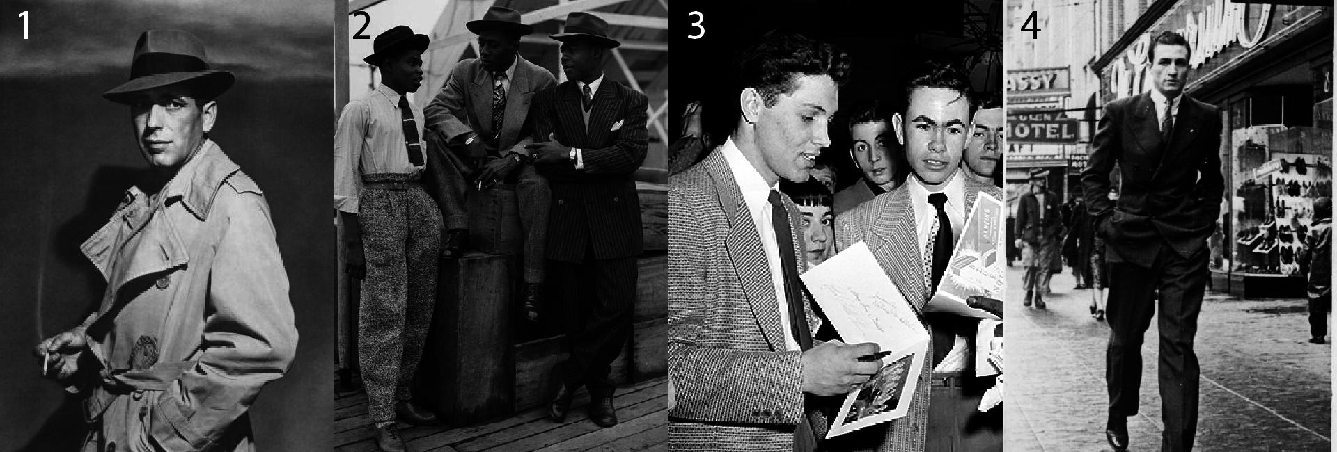 Moda męska lata 40.- Jak ubierano się w latach 40's - Strój męski lata 40's - Humprey Bogart w trenczu lata 40. - Hipsterzy - Hipster - Garnitur typu zoot