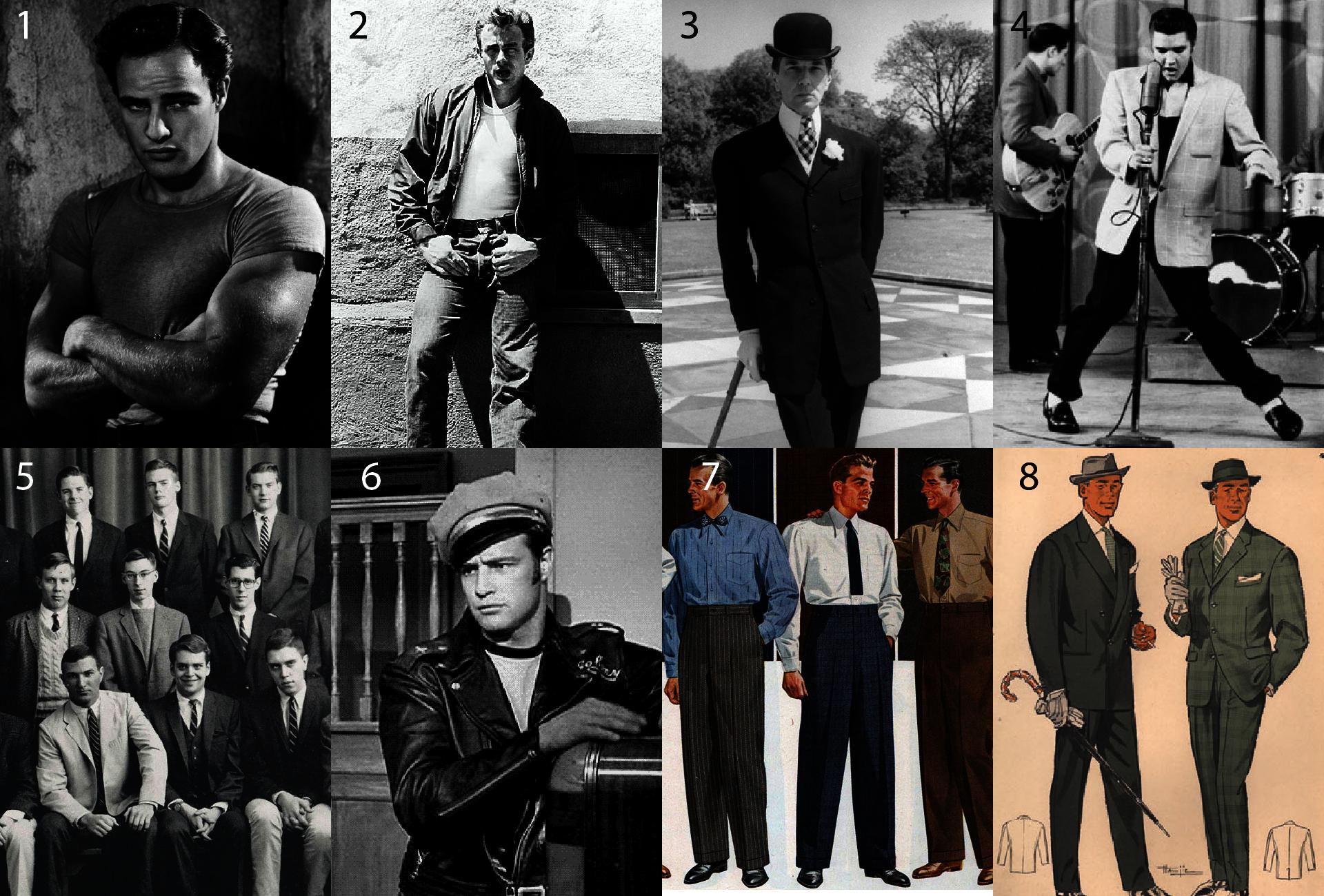 Moda męska lata 50.- Jak ubierano się w latach 50's - Strój męski lata 50's - Marlon Brando młody - Tramwaj Zwany pożądaniem - James Dean styl - Styl teddy boys - Bunny Roger