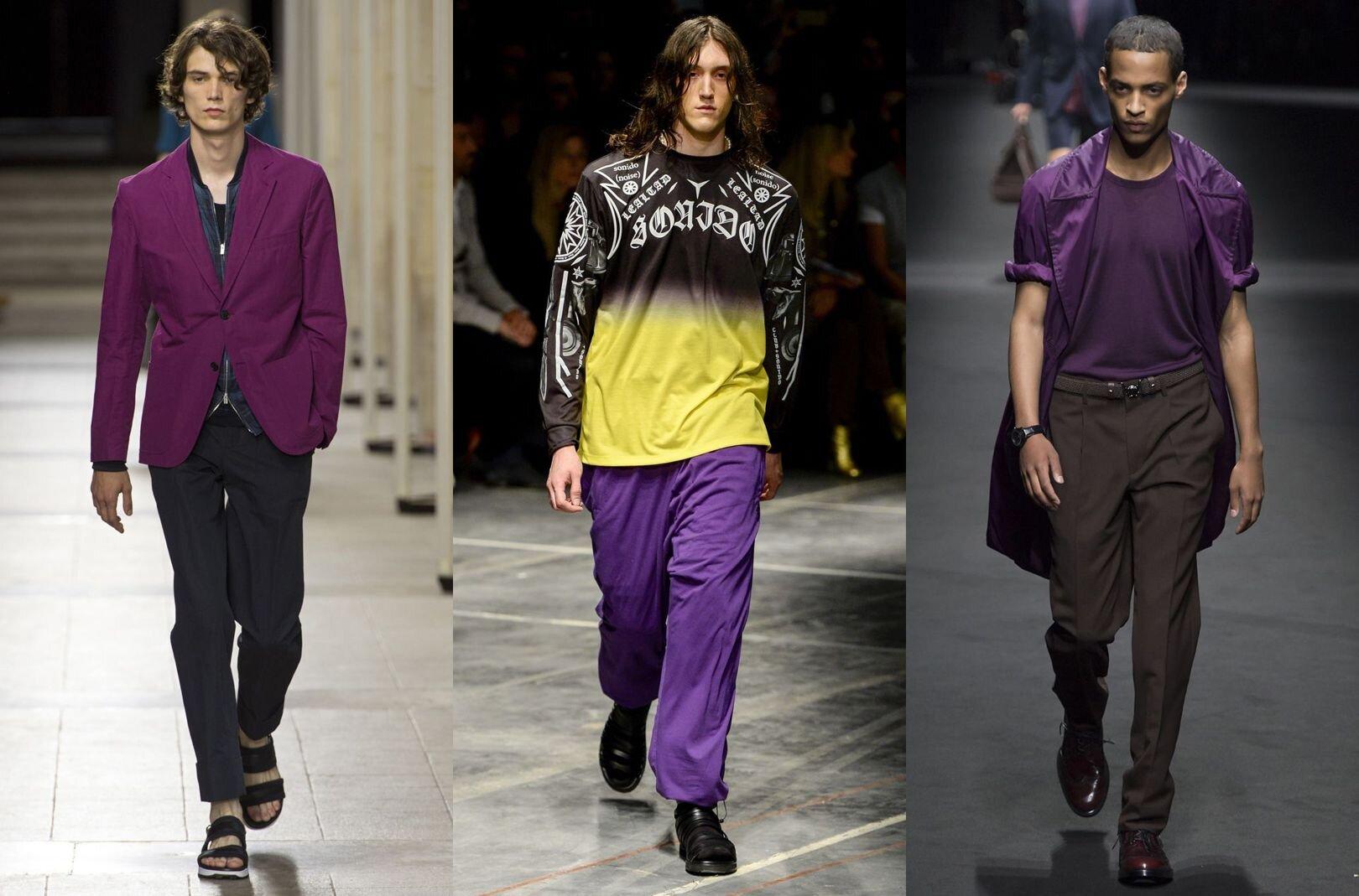 Trendy w modzie męskiej wiosna-lato 2017, Kolor fioletowy