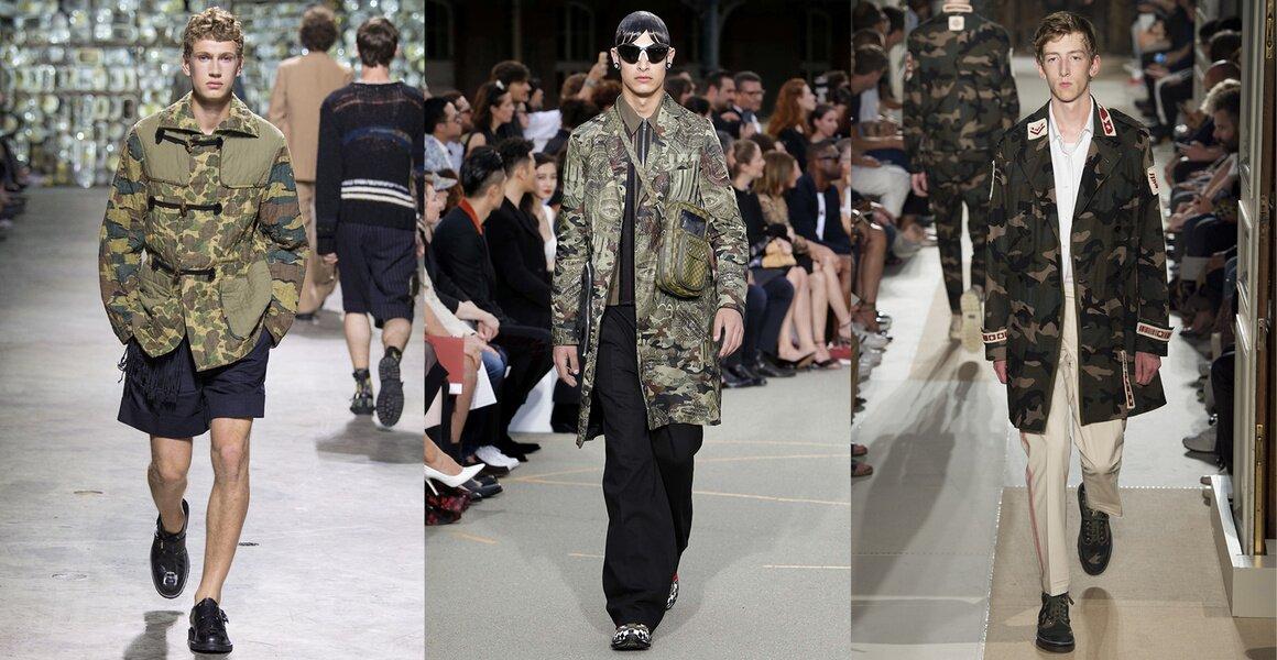 Trendy w modzie męskiej wiosna-lato 2017, Moro, Motywy militarne