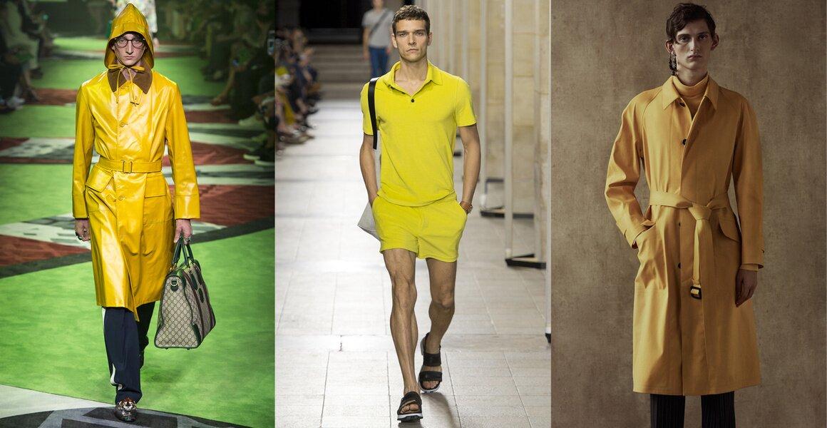 Trendy w modzie męskiej wiosna-lato 2017, Kolor żółty