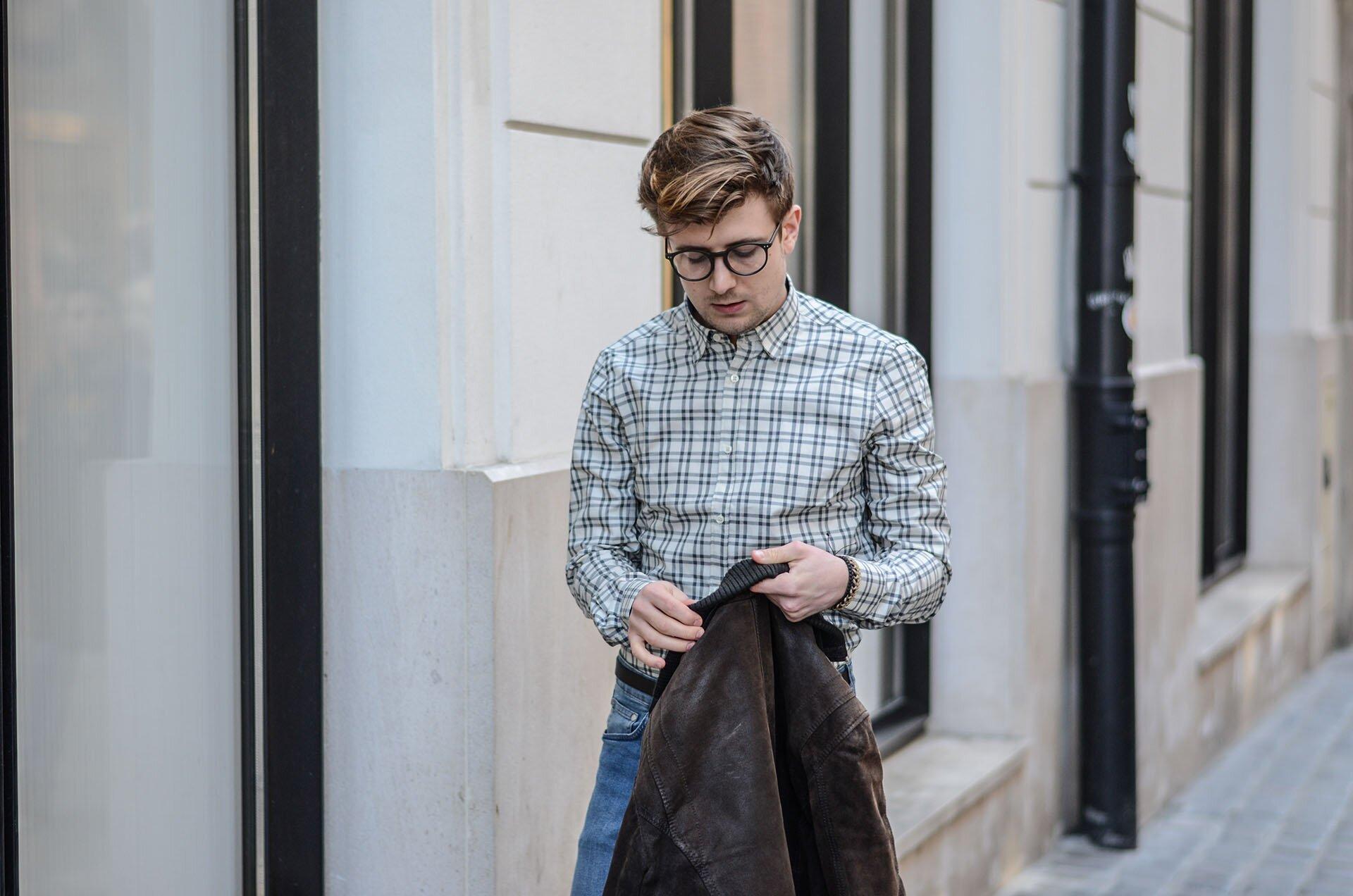Koszula w kratę męska, Męskiej jeansy, Skarpety Happy Socks męskie, Bransoletki She&He Męskie