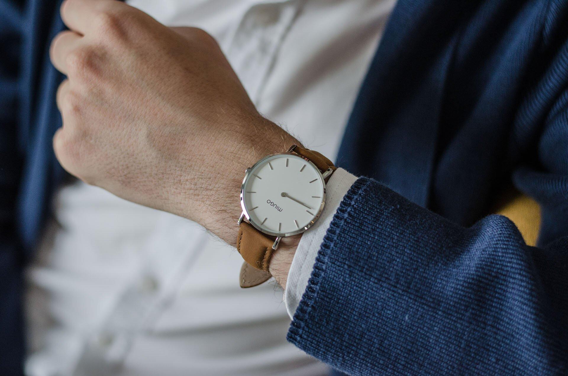 MIUGO, Zegarki MIUGO, Minimalistyczne zegarki, Zegarki męskie, Zegarek męski z brązowym paskiem