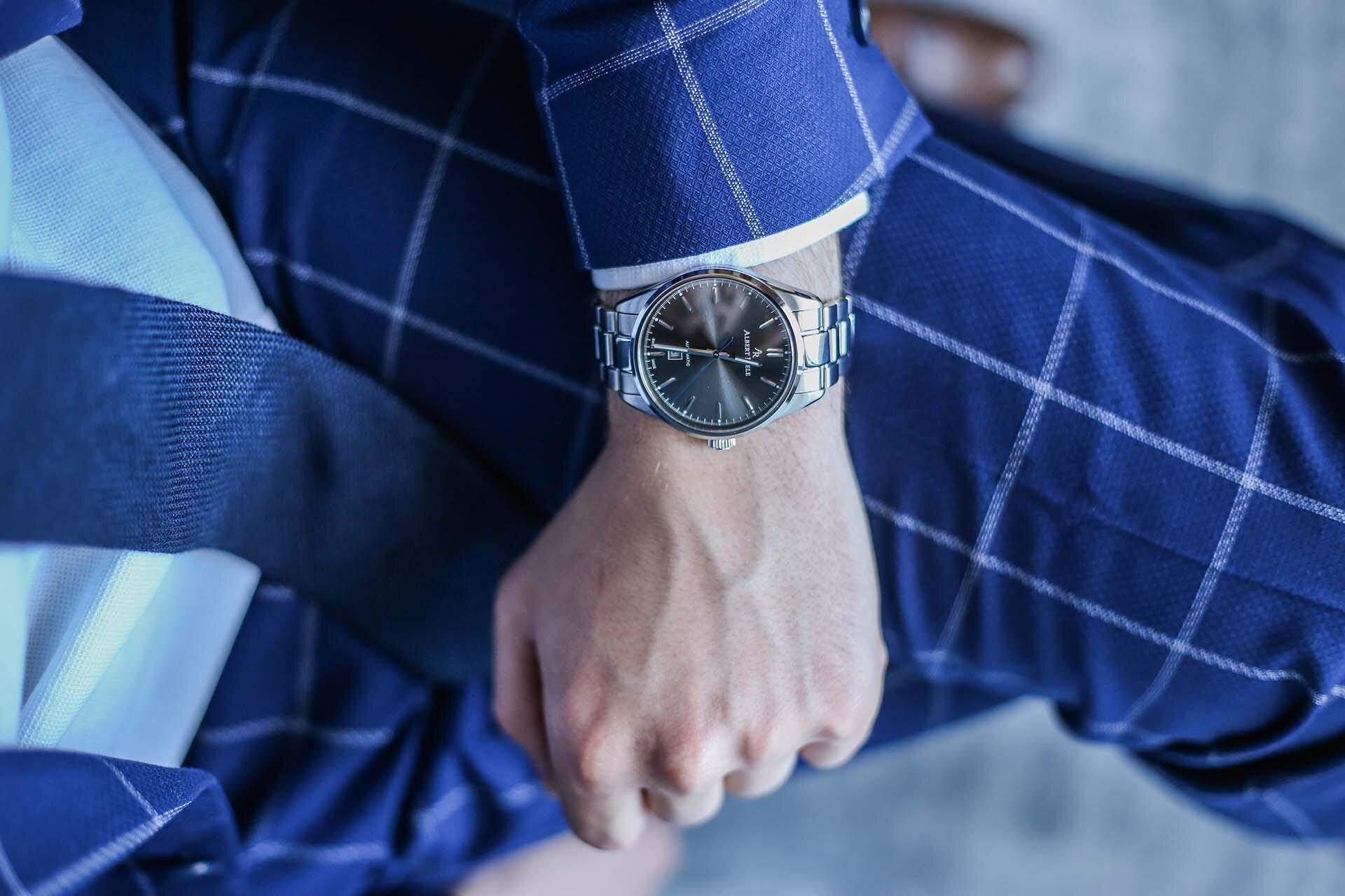 Zegarek Albert Riele, Męski zegarek, Męskie zegarki, Zegarek na srebrnej bransolecie, Apart, GMALE by Grzegorz Paliś