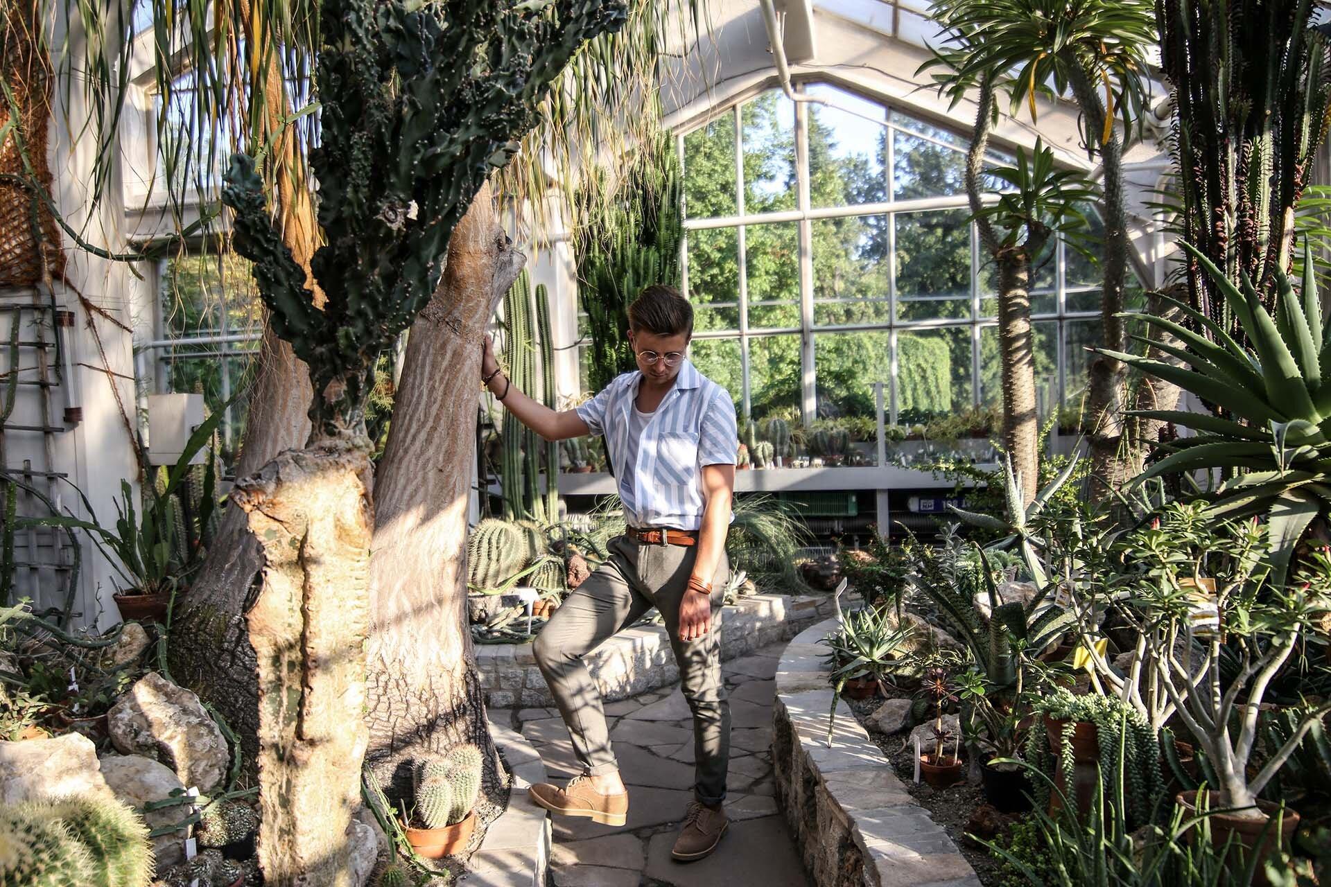 Tropikalna moda męska, Blog o modzie męskiej, Moda męska dla mężczyzn, Ogród Botaniczny Kraków