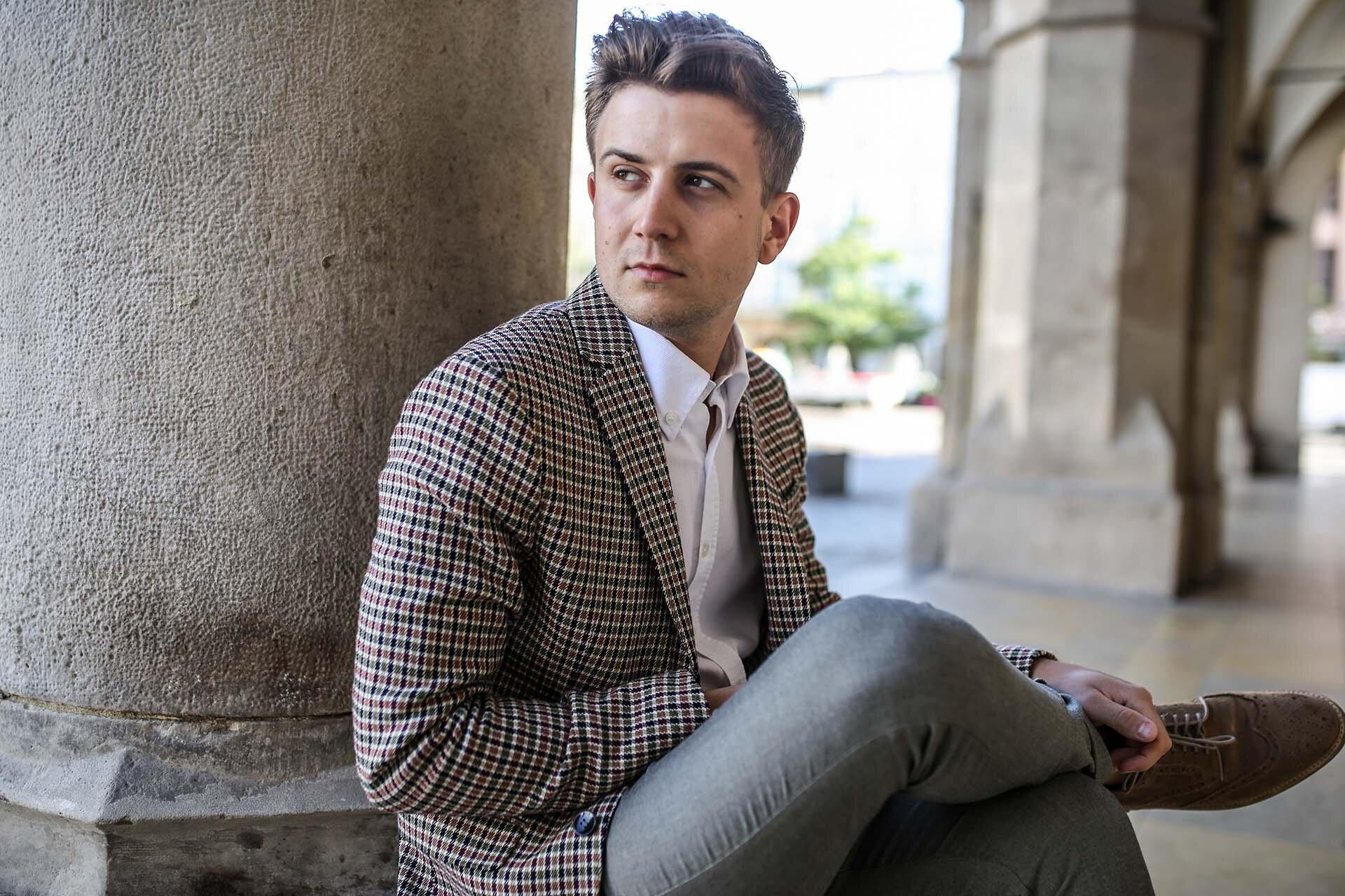 Grzegorz Paliś, GMALE blog o modzie męskiej, blog dla młodych mężczyzn, blog dla świadomych mężczyzn, Jesienna marynarka, Marynarka w kratę, Marynarka Zara, Smart Casual