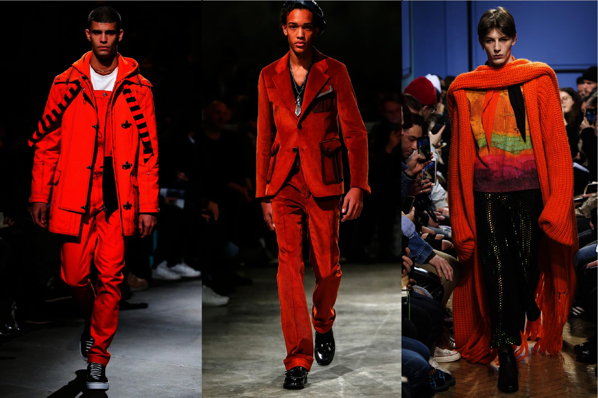 Trendy w modzie męskiej jesień-zima 2017, Pokazy mody męskiej jesień-zima 2017, Pomarańczowy w modzie męskiej, Kolor pomarańczowy, Orange is the new black