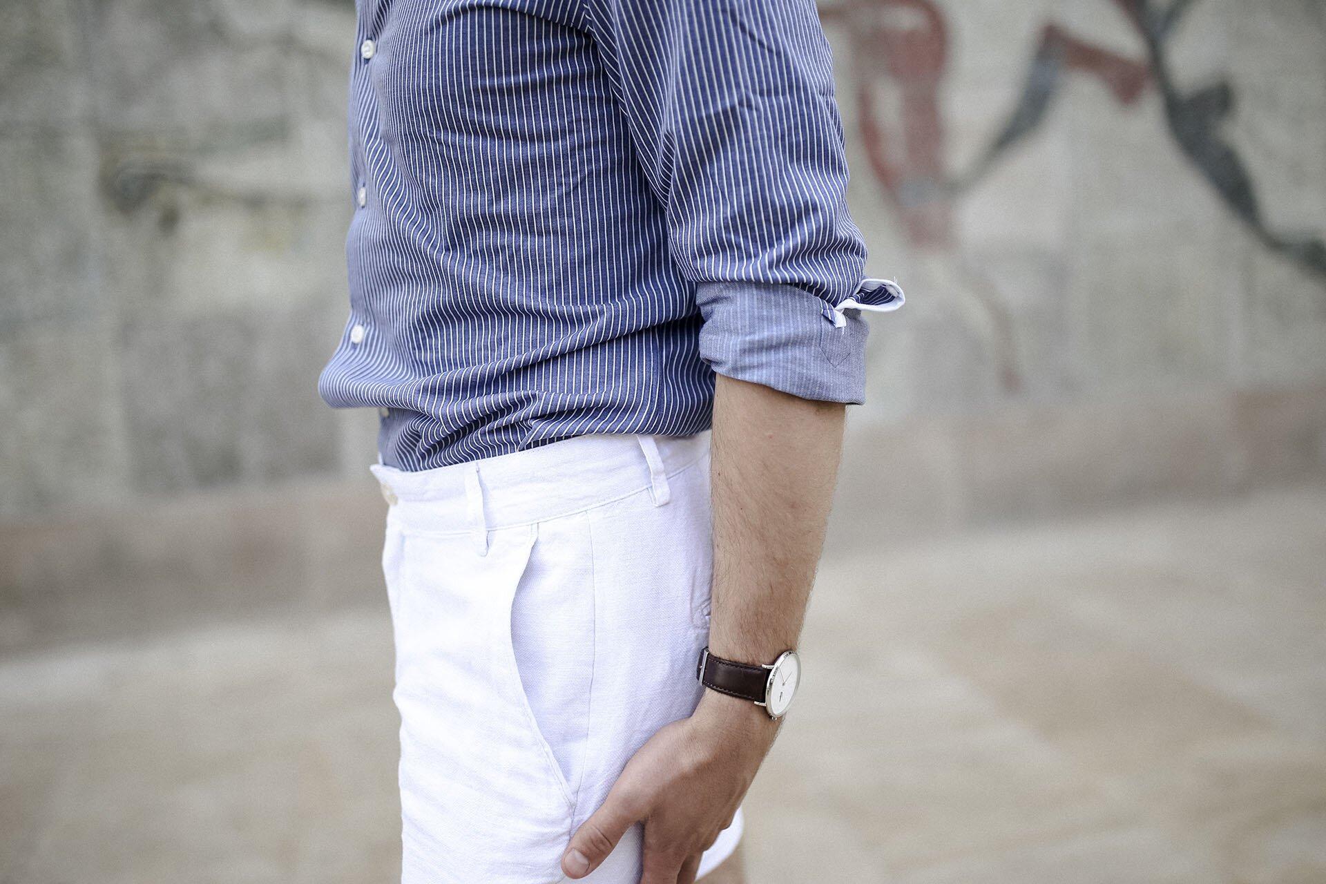 Koszula Massimo Dutti, Koszula męska, Błękitna koszula męska, lniane białe szorty męskie, moda męska, blog o modzie męskiej, Gmale by Grzegorz Paliś
