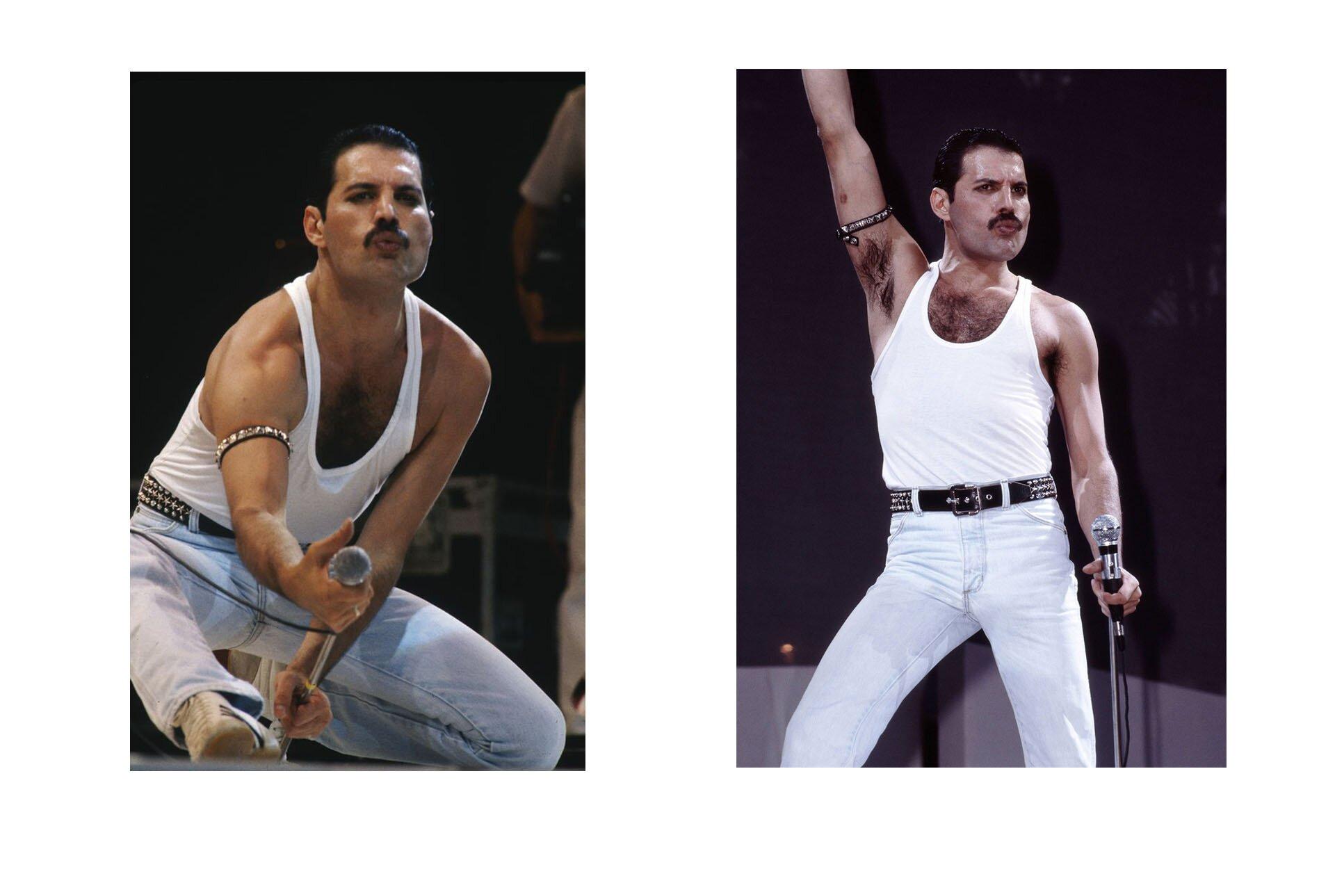 Wszyscy powinniśmy ubierać się jak Freddie, Freddie Mercury, Stylizacje Queen, Stylizacje Freddie, Live Aid Queen, Biała bokserka, 10 przełomowych wcieleń modowych Freddiego