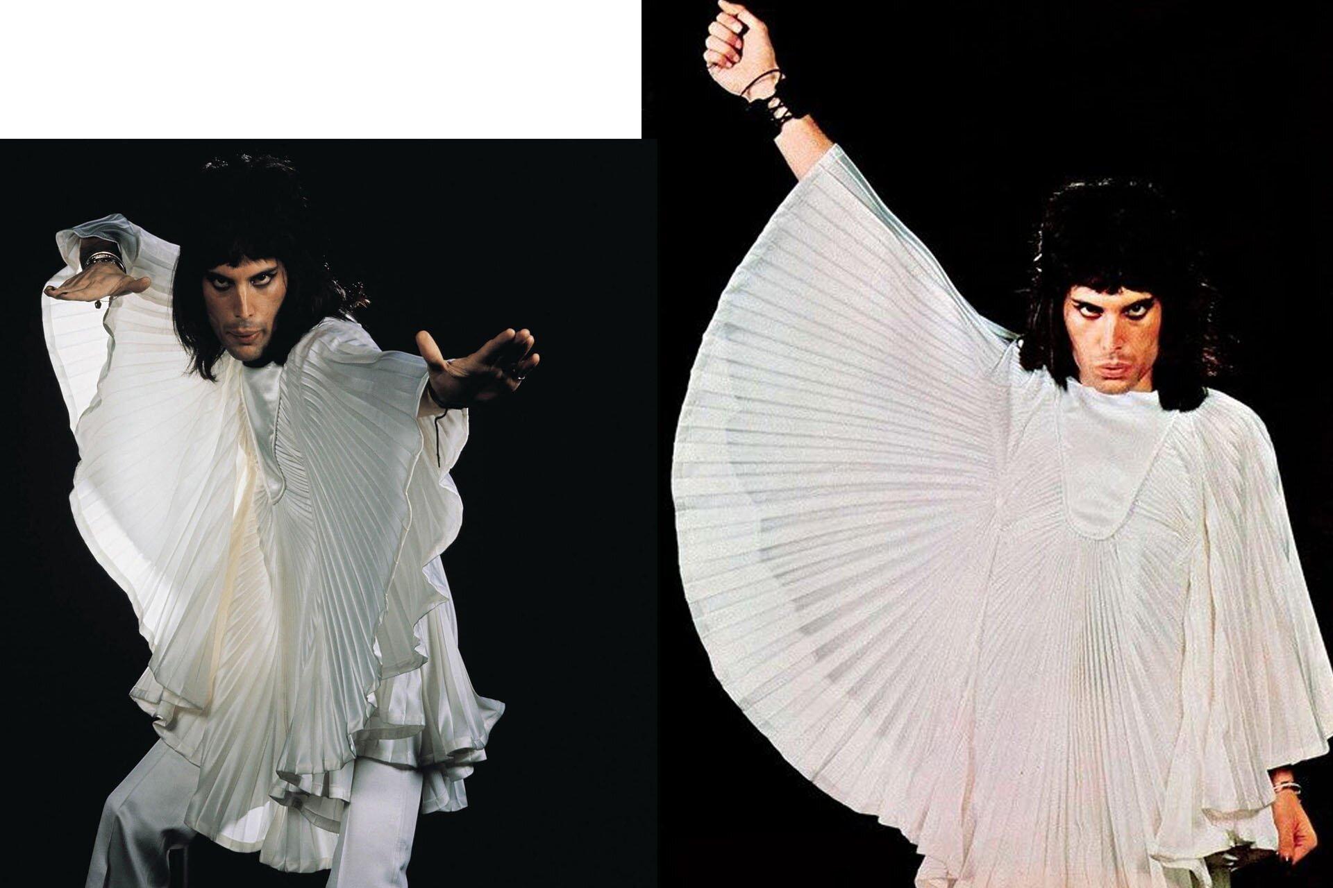 Wszyscy powinniśmy ubierać się jak Freddie, Freddie Mercury, Stylizacje Queen, Stylizacje Freddie, Biały kostium, 10 przełomowych wcieleń modowych Freddiego