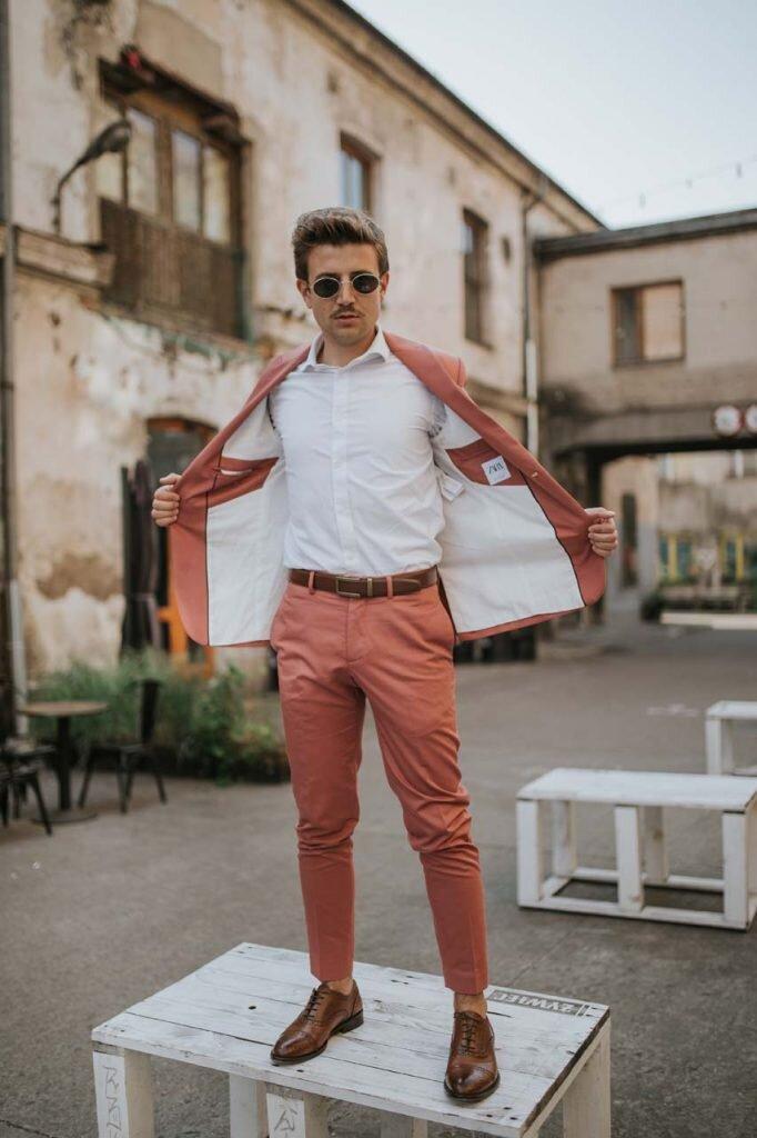 Pasek do spodni, Różowy garnitur męski, Moda męska, Blog o modzie męskiej, Grzegorz Paliś, GMALE, Dolnych Młynów