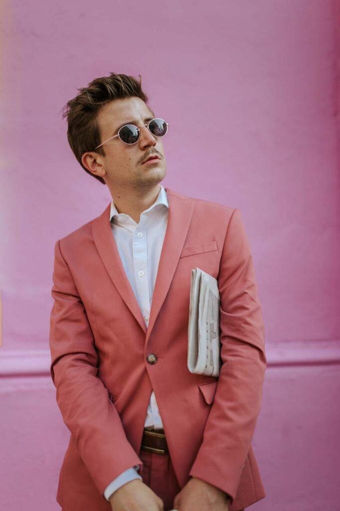 Pasek do spodni, Różowy garnitur męski, Moda męska, Blog o modzie męskiej, Grzegorz Paliś, GMALE